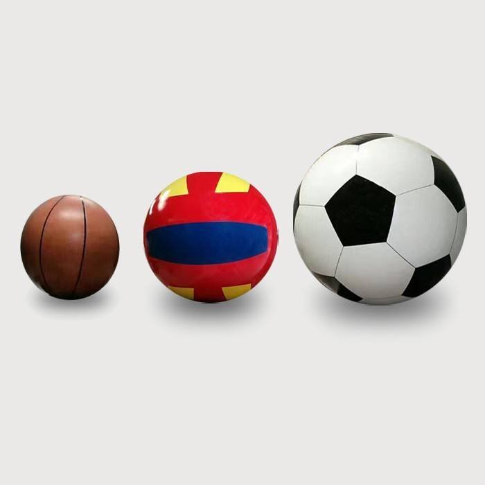 Large Decorative Painted Football, Basketball and Volleyball
